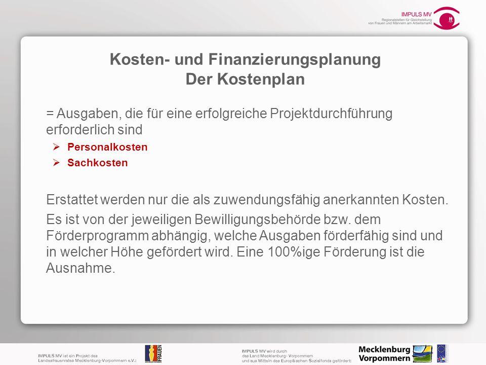 Kosten- und Finanzierungsplanung Der Kostenplan