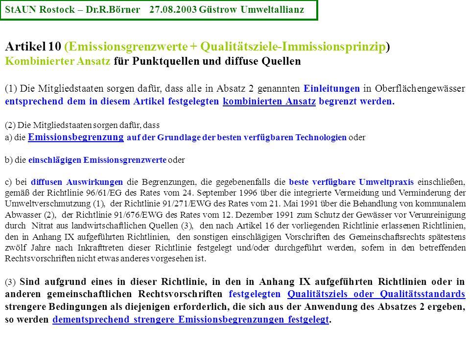 Artikel 10 (Emissionsgrenzwerte + Qualitätsziele-Immissionsprinzip)