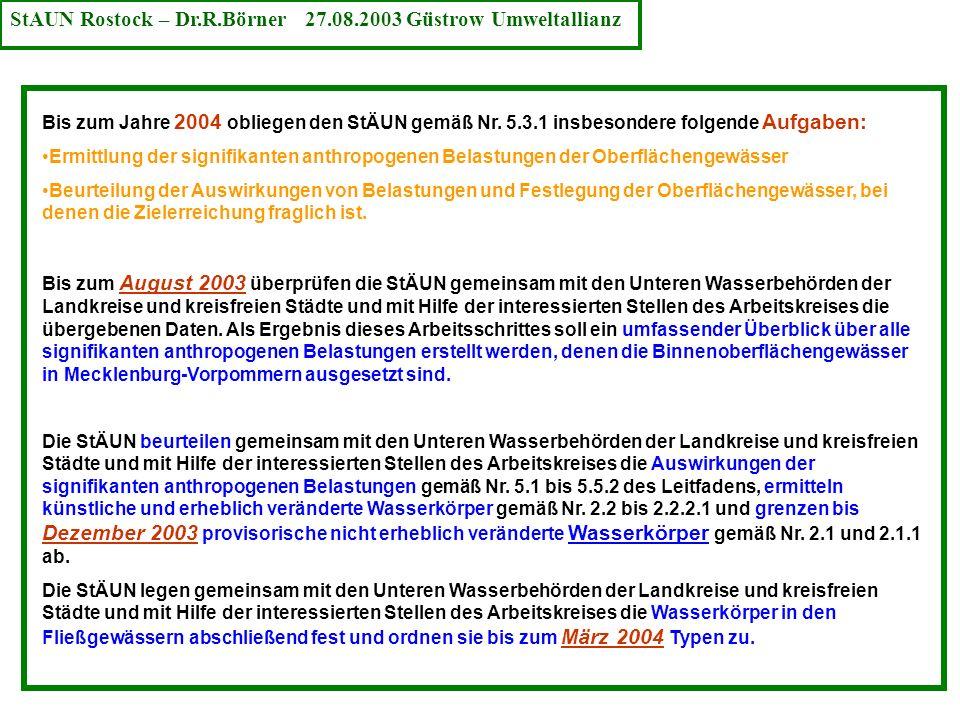 StAUN Rostock – Dr.R.Börner 27.08.2003 Güstrow Umweltallianz
