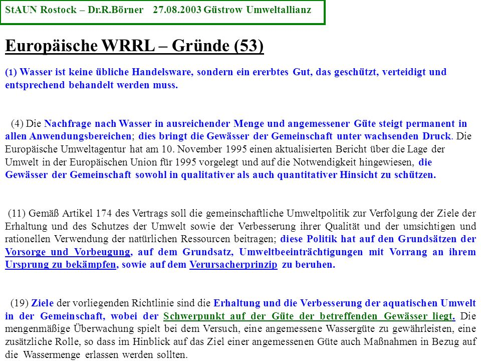 Europäische WRRL – Gründe (53)