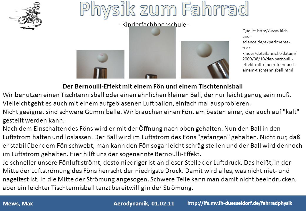 Der Bernoulli-Effekt mit einem Fön und einem Tischtennisball