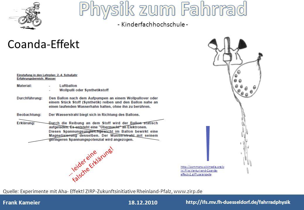 Coanda-Effekt … leider eine falsche Erklärung! Frank Kameier