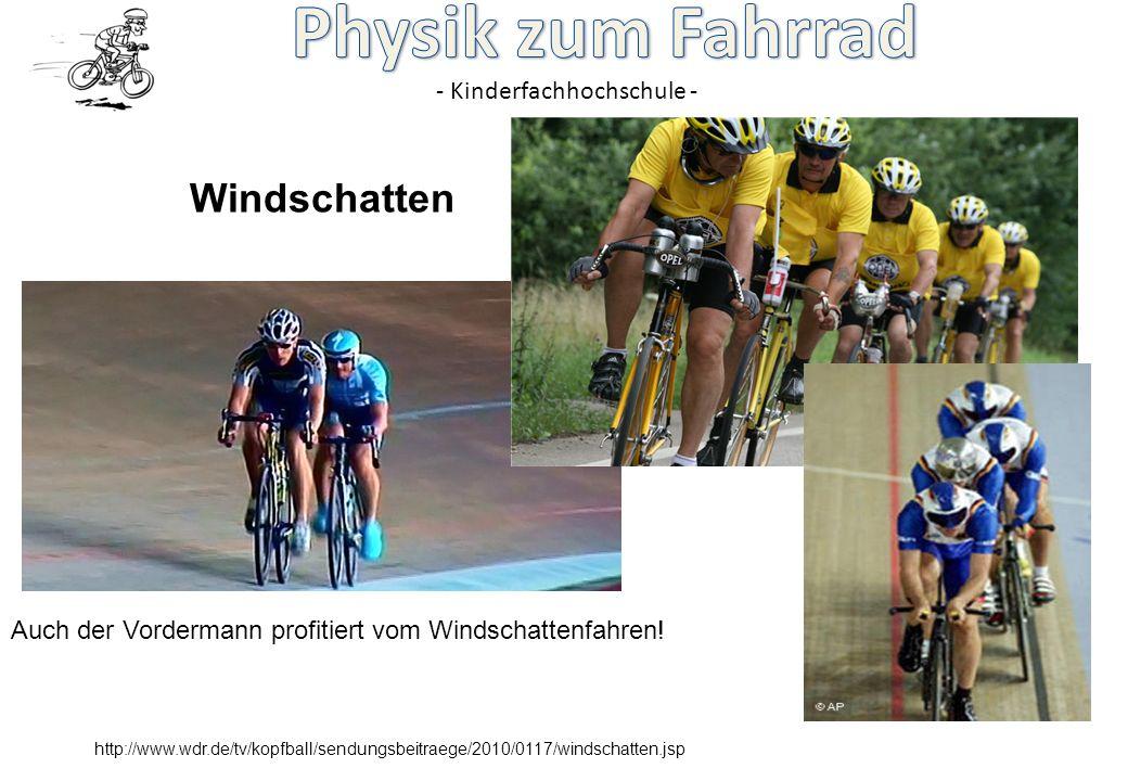 Windschatten Auch der Vordermann profitiert vom Windschattenfahren!