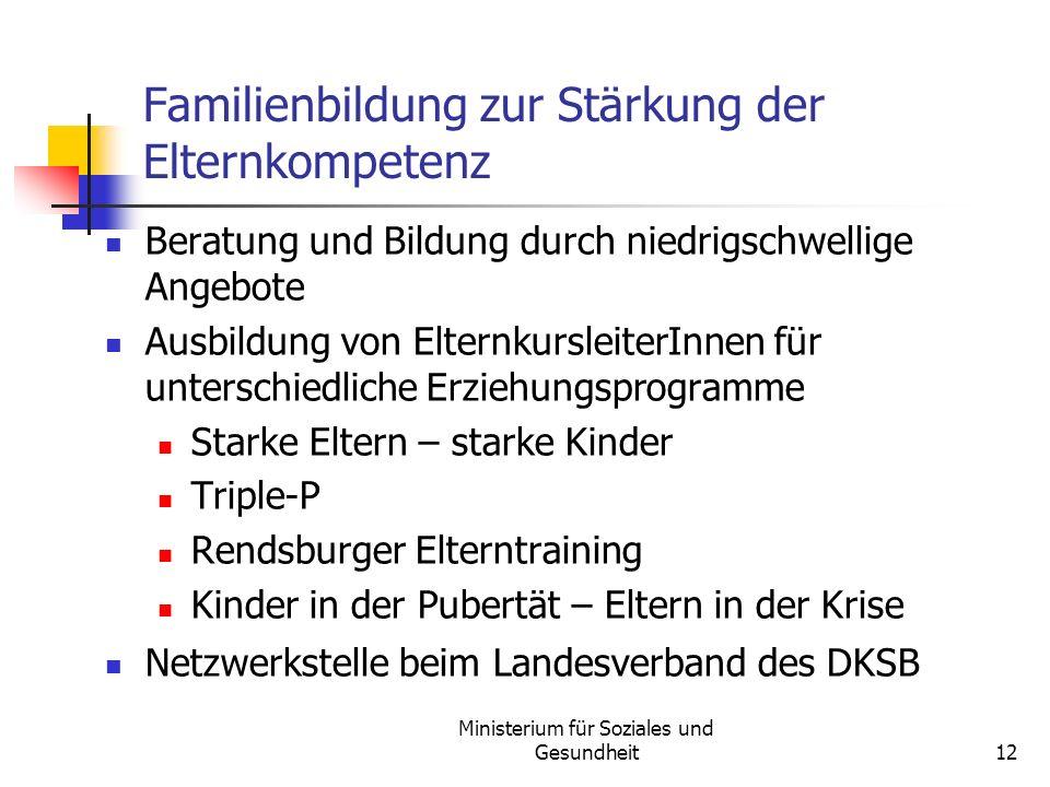 Familienbildung zur Stärkung der Elternkompetenz