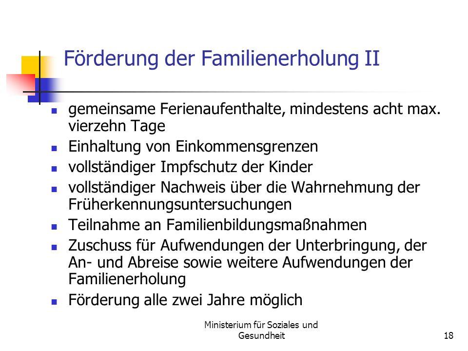 Förderung der Familienerholung II