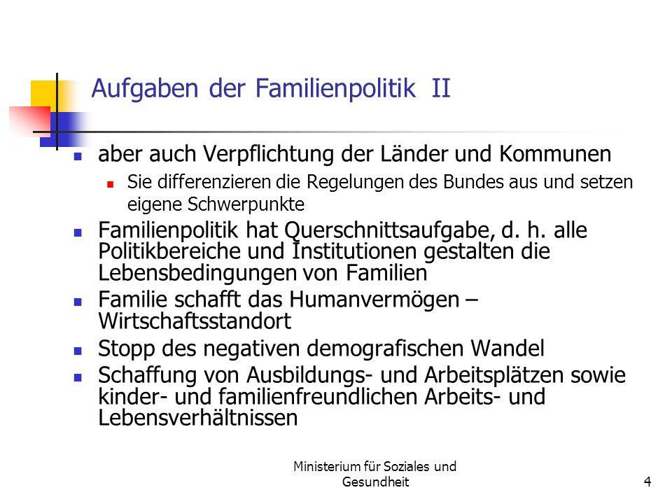 Aufgaben der Familienpolitik II