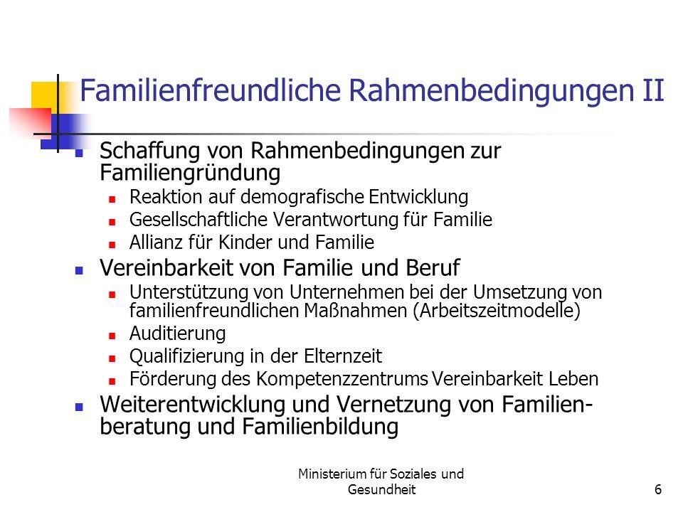 Familienfreundliche Rahmenbedingungen II