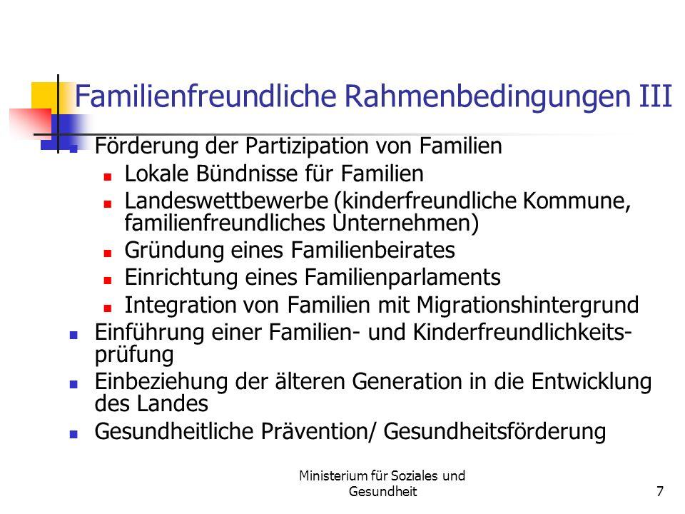 Familienfreundliche Rahmenbedingungen III