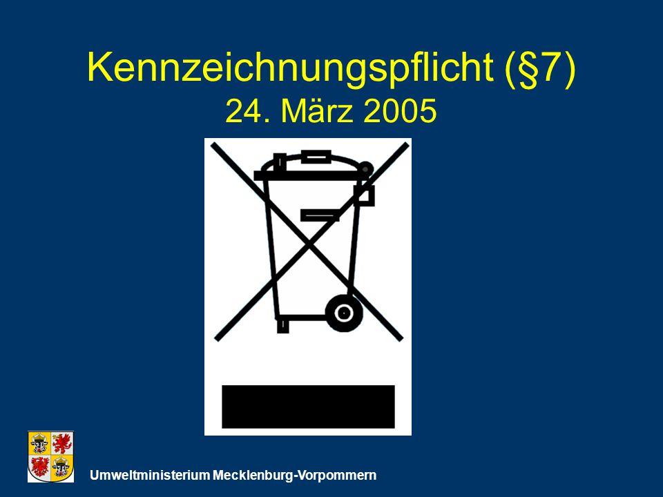 Kennzeichnungspflicht (§7) 24. März 2005