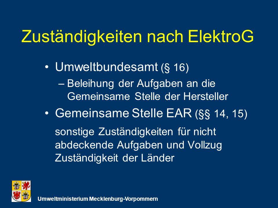 Zuständigkeiten nach ElektroG