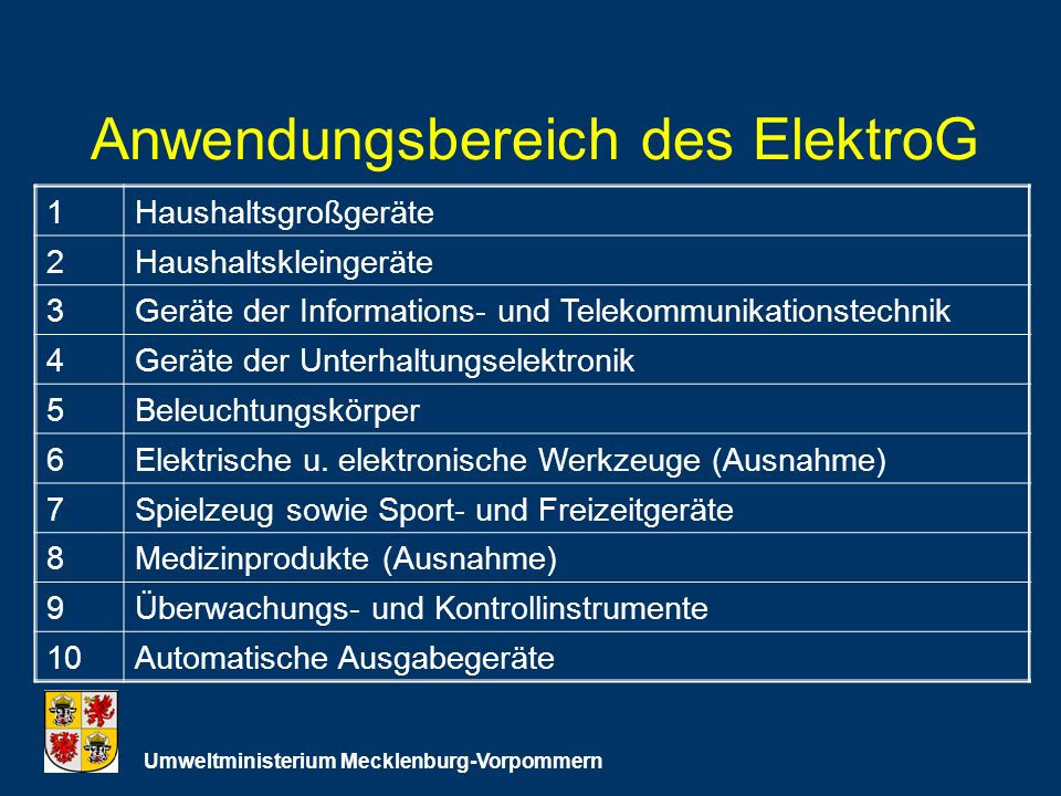 Anwendungsbereich des ElektroG