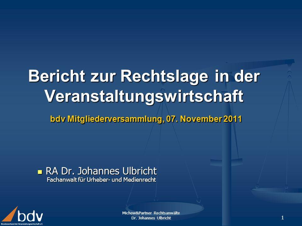 RA Dr. Johannes Ulbricht Fachanwalt für Urheber- und Medienrecht