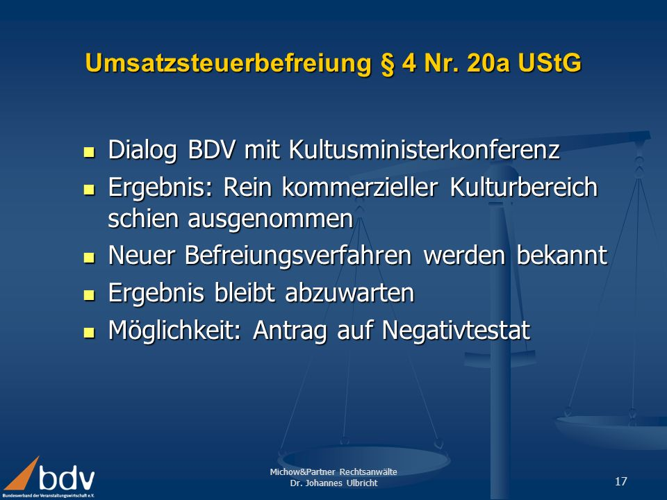 Umsatzsteuerbefreiung § 4 Nr. 20a UStG