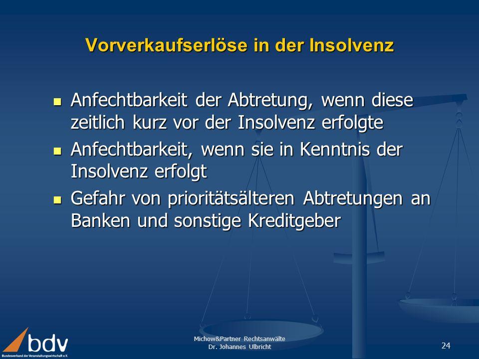 Vorverkaufserlöse in der Insolvenz