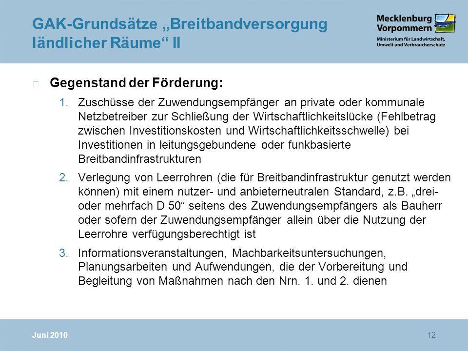 """GAK-Grundsätze """"Breitbandversorgung ländlicher Räume II"""