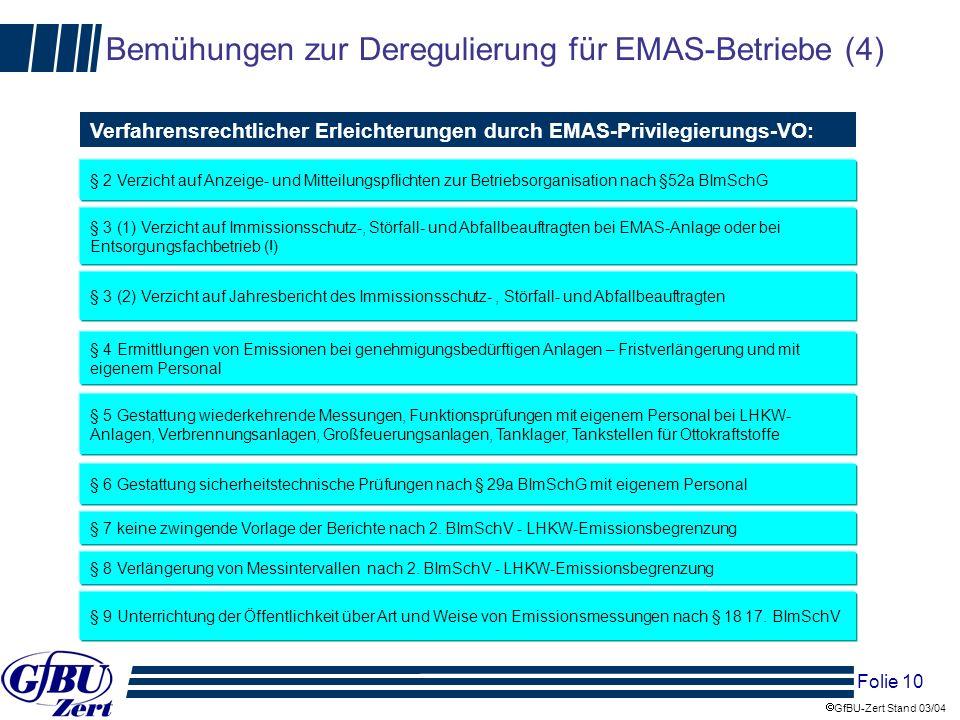 Bemühungen zur Deregulierung für EMAS-Betriebe (4)