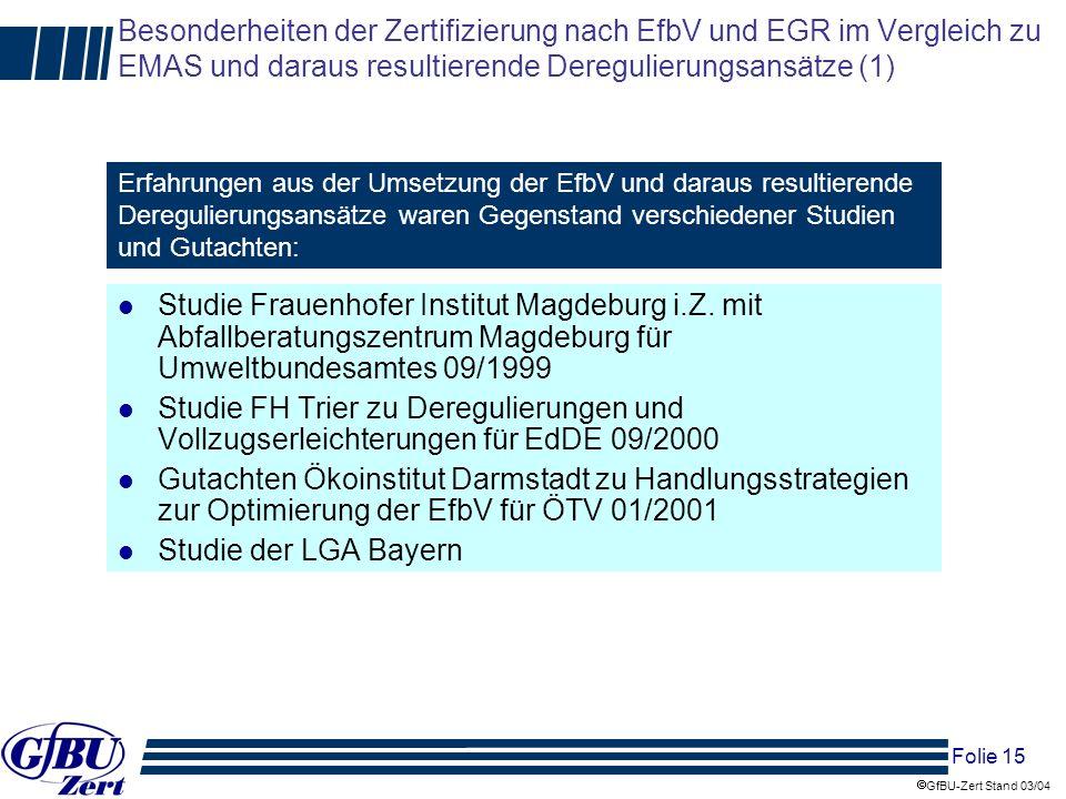 Besonderheiten der Zertifizierung nach EfbV und EGR im Vergleich zu EMAS und daraus resultierende Deregulierungsansätze (1)