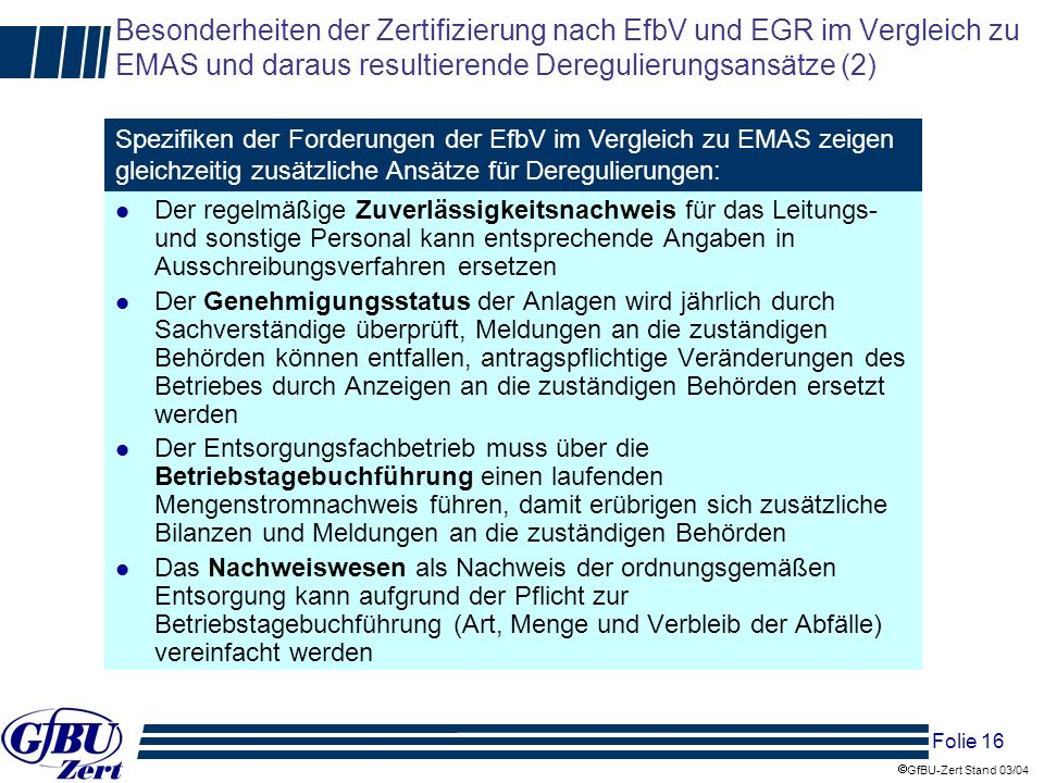 Besonderheiten der Zertifizierung nach EfbV und EGR im Vergleich zu EMAS und daraus resultierende Deregulierungsansätze (2)