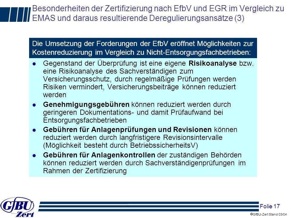 Besonderheiten der Zertifizierung nach EfbV und EGR im Vergleich zu EMAS und daraus resultierende Deregulierungsansätze (3)