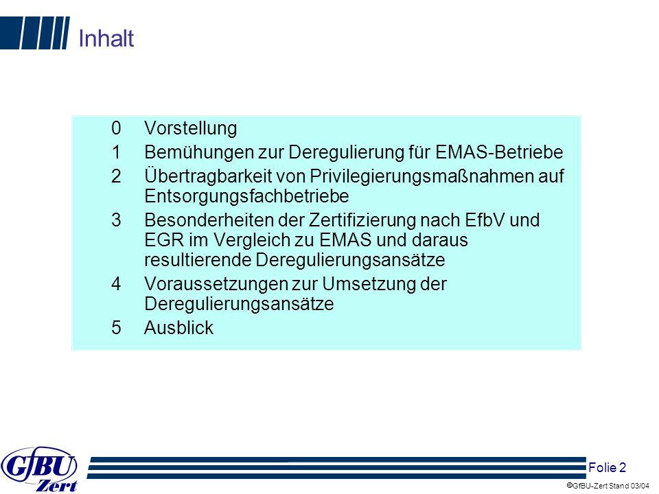 Inhalt 0 Vorstellung 1 Bemühungen zur Deregulierung für EMAS-Betriebe