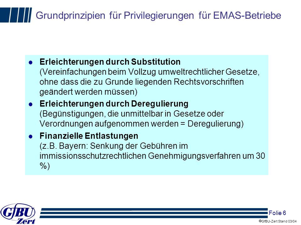 Grundprinzipien für Privilegierungen für EMAS-Betriebe