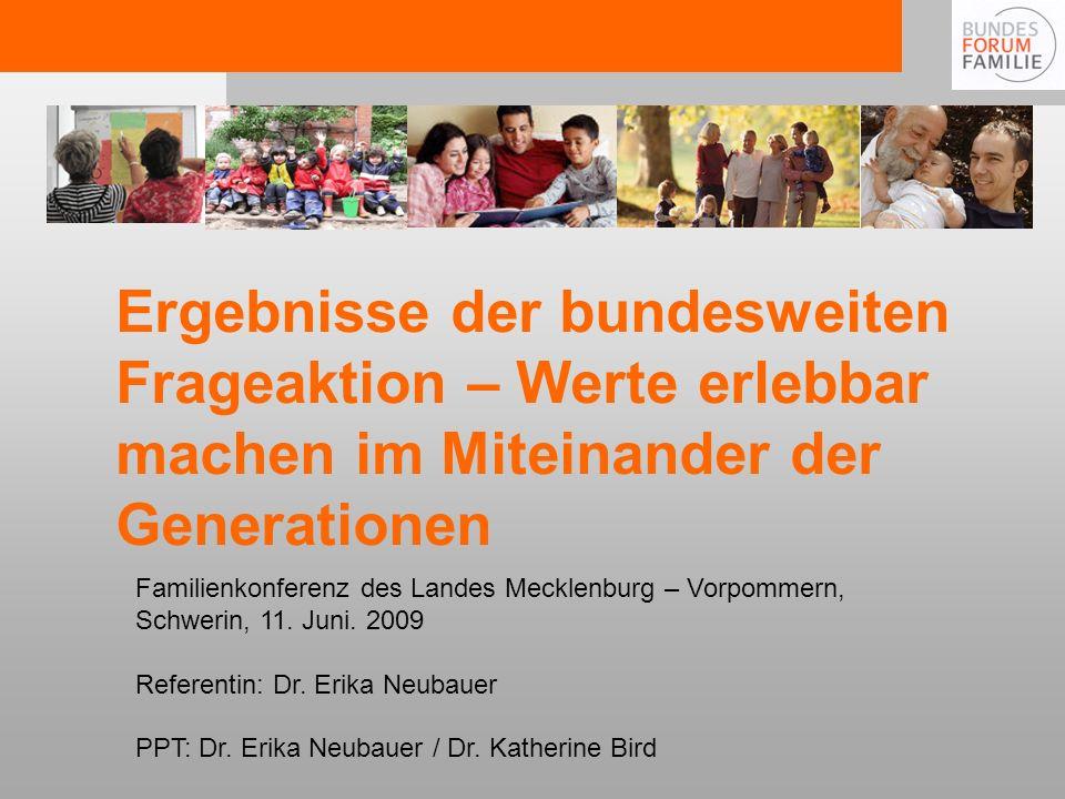 Ergebnisse der bundesweiten Frageaktion – Werte erlebbar machen im Miteinander der Generationen