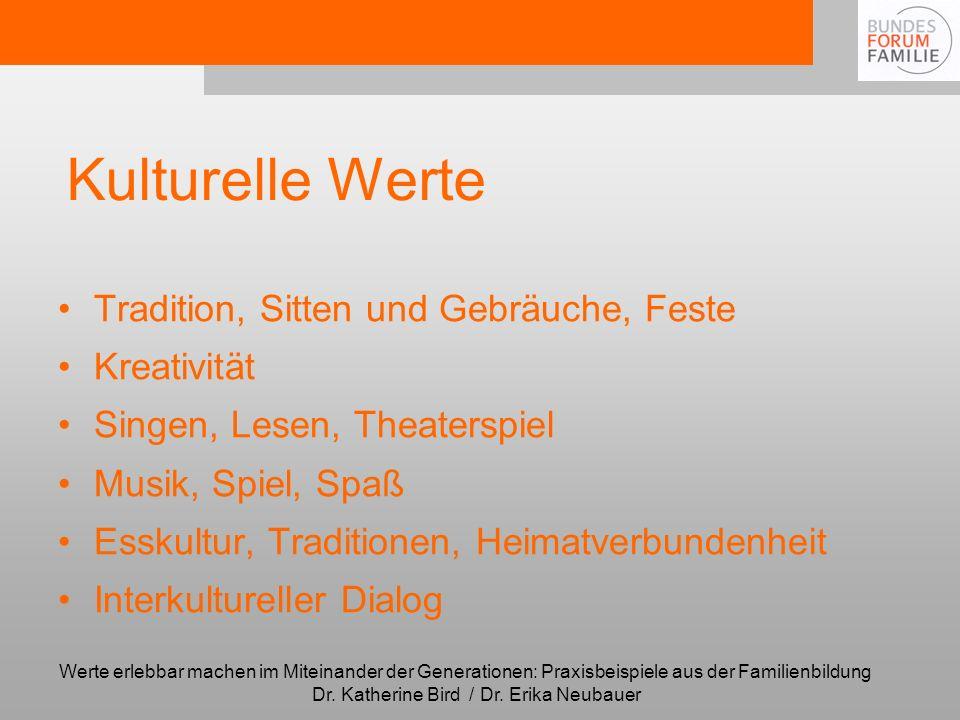 Kulturelle Werte Tradition, Sitten und Gebräuche, Feste Kreativität