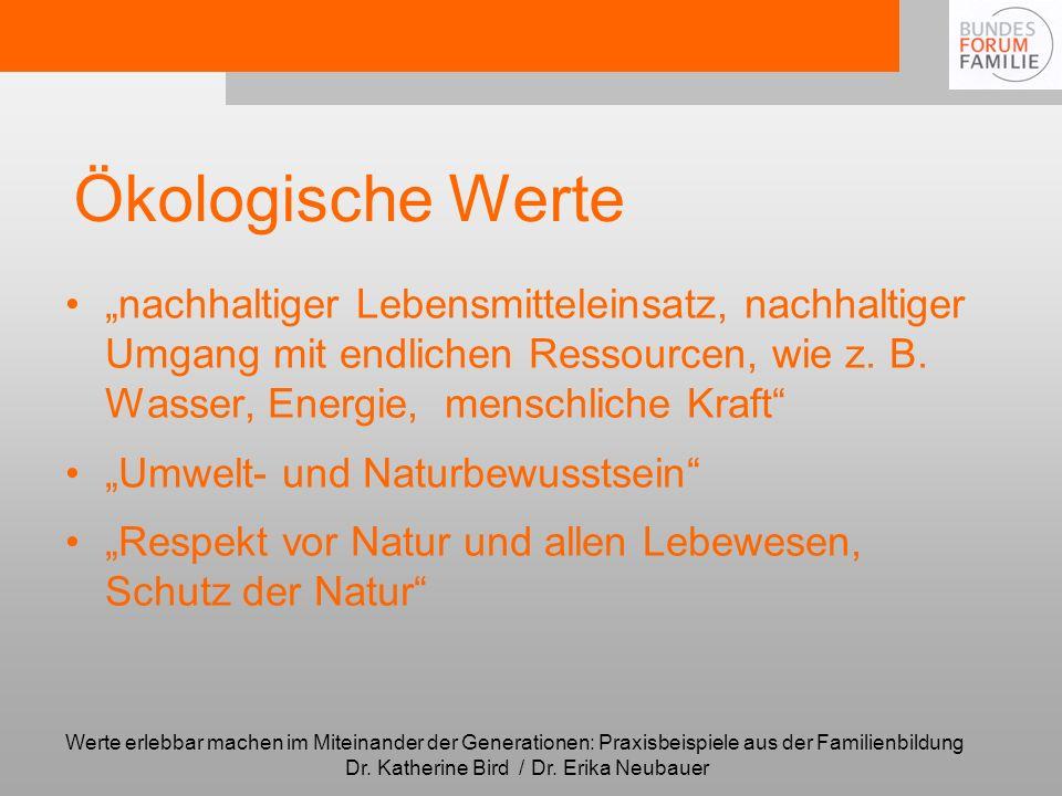"""Ökologische Werte""""nachhaltiger Lebensmitteleinsatz, nachhaltiger Umgang mit endlichen Ressourcen, wie z. B. Wasser, Energie, menschliche Kraft"""