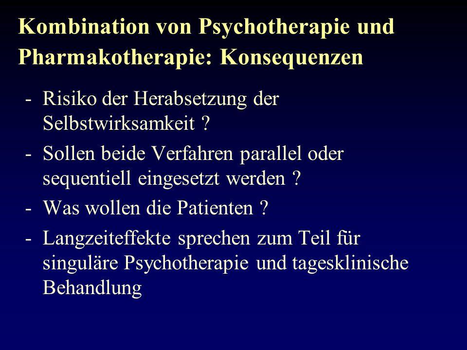 Kombination von Psychotherapie und Pharmakotherapie: Konsequenzen