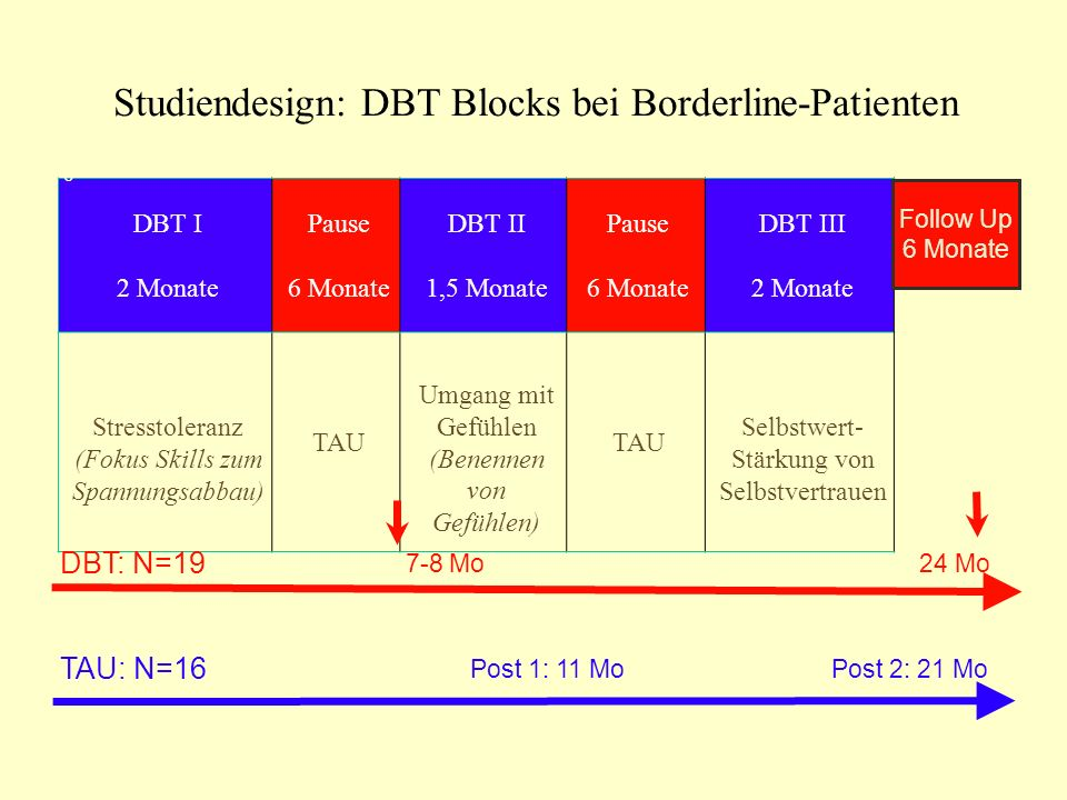 Studiendesign: DBT Blocks bei Borderline-Patienten