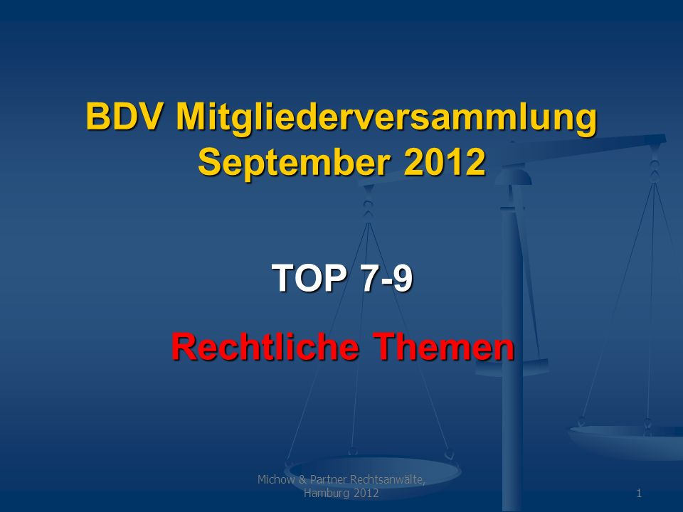 BDV Mitgliederversammlung September 2012