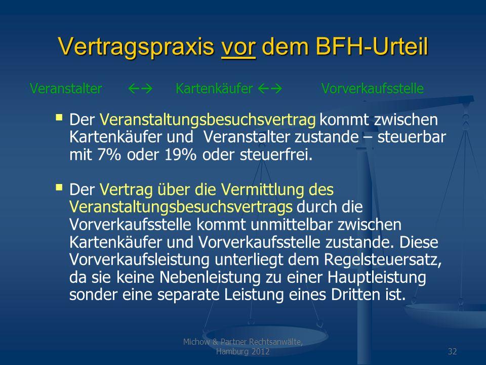Vertragspraxis vor dem BFH-Urteil