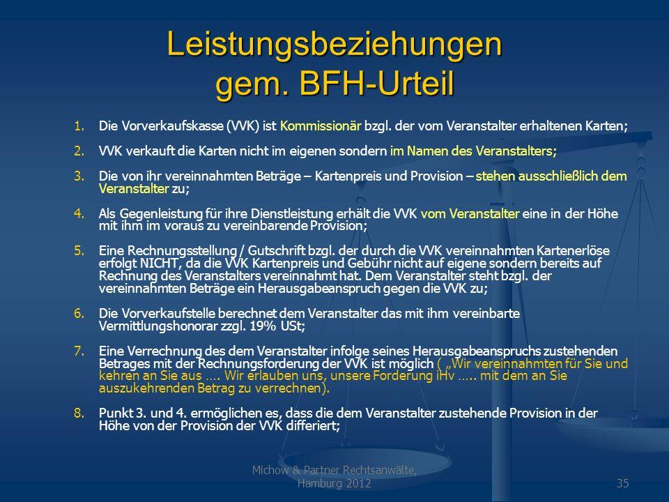 Leistungsbeziehungen gem. BFH-Urteil