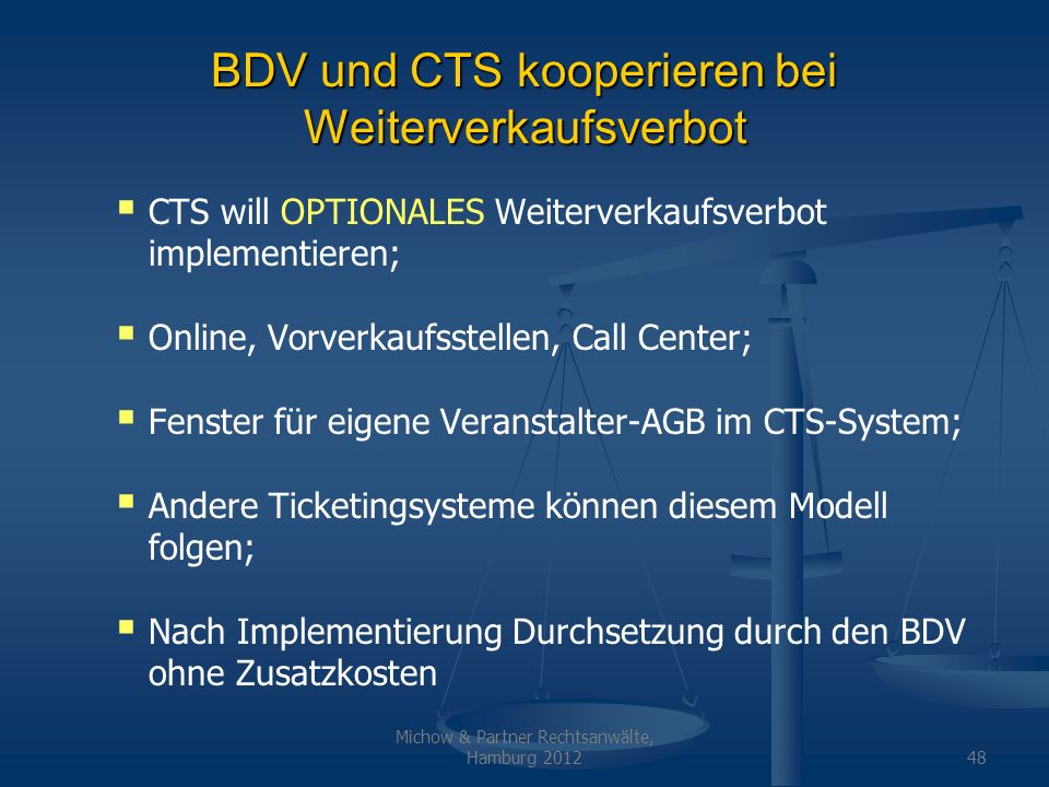 BDV und CTS kooperieren bei Weiterverkaufsverbot