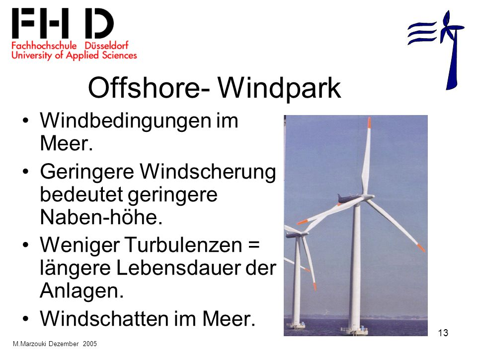 Offshore- Windpark Windbedingungen im Meer.
