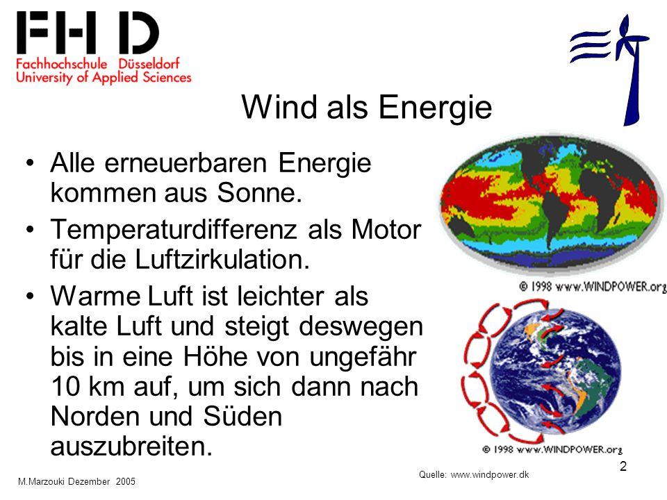 Wind als Energie Alle erneuerbaren Energie kommen aus Sonne.
