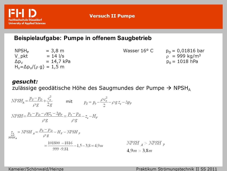 Beispielaufgabe: Pumpe in offenem Saugbetrieb