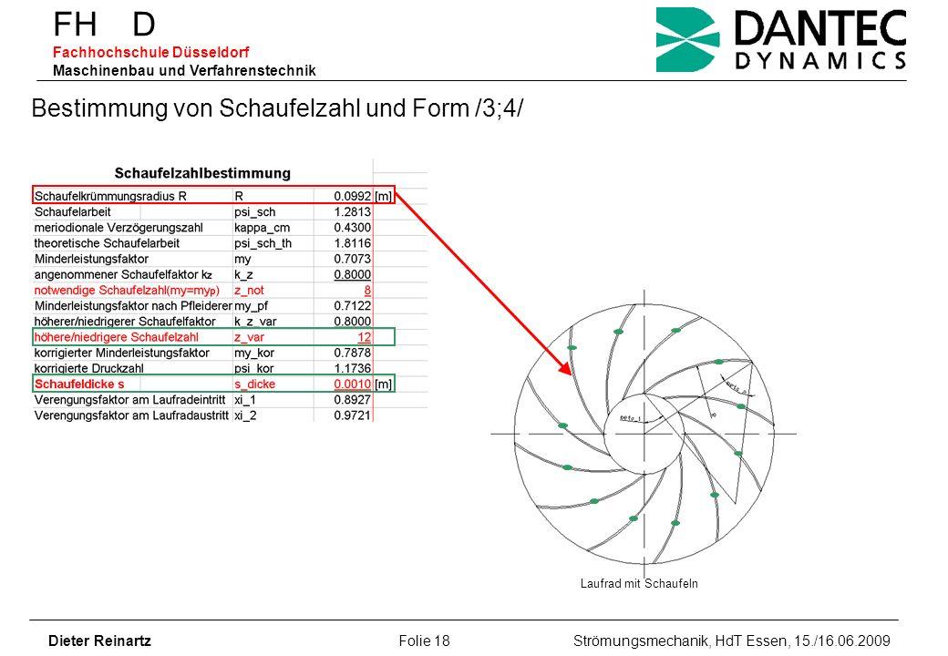 Bestimmung von Schaufelzahl und Form /3;4/
