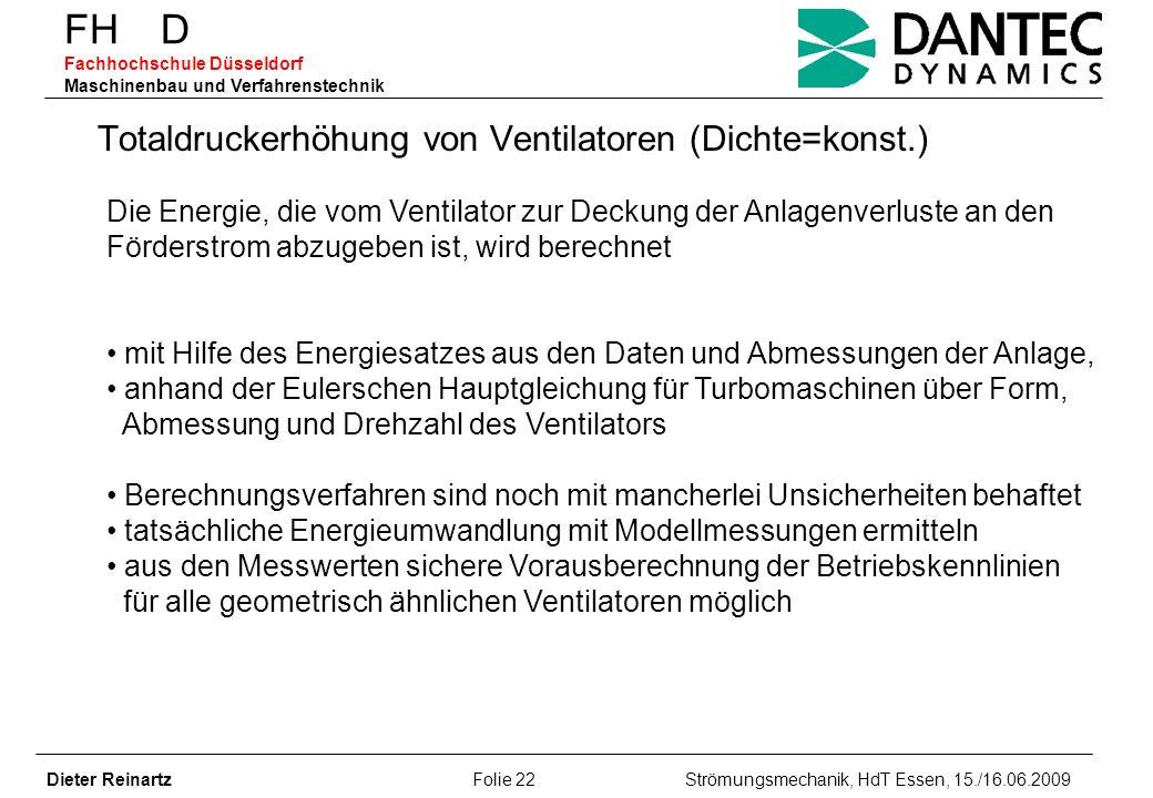 Totaldruckerhöhung von Ventilatoren (Dichte=konst.)