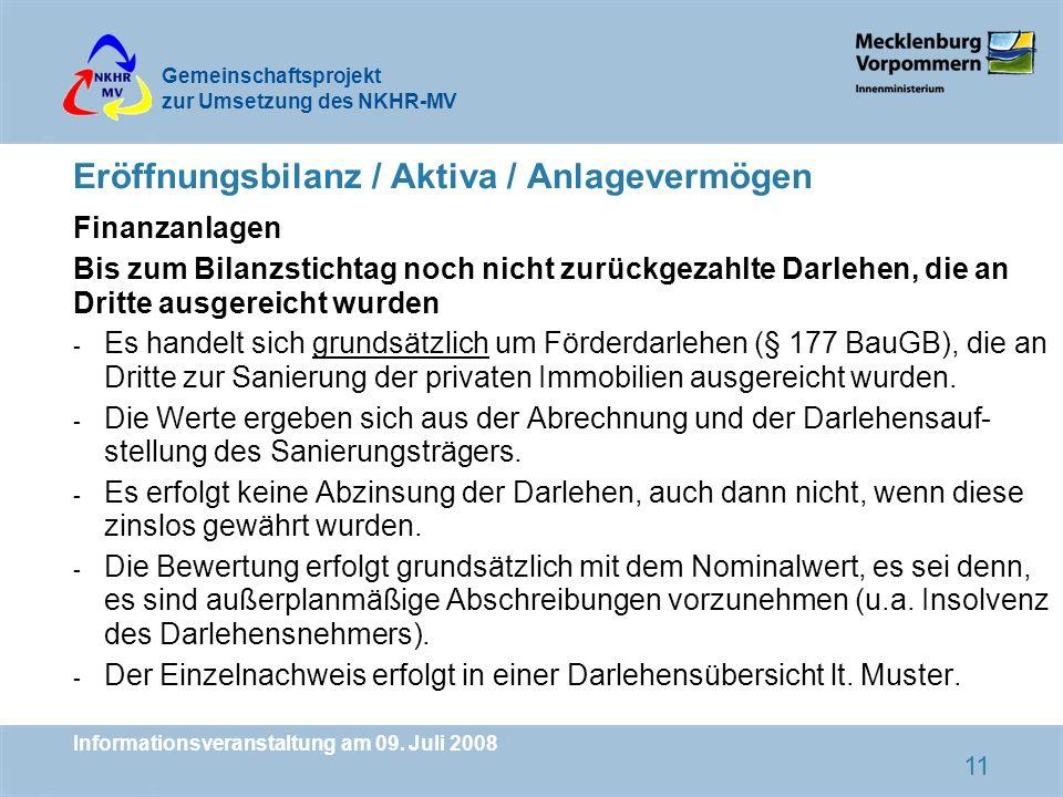 Eröffnungsbilanz / Aktiva / Anlagevermögen