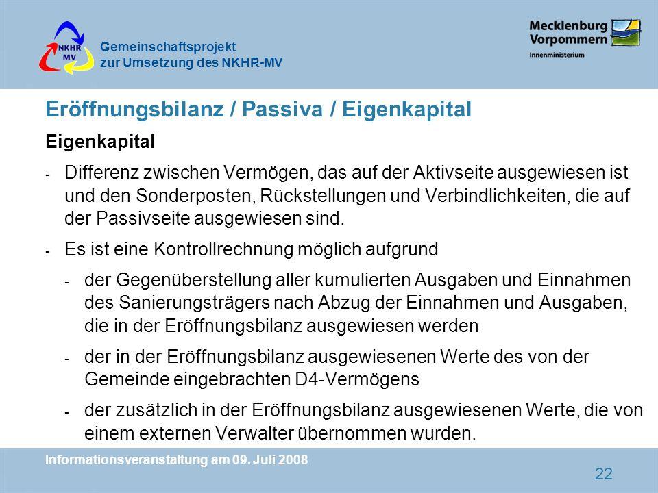 Eröffnungsbilanz / Passiva / Eigenkapital