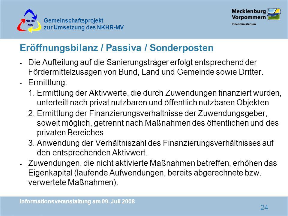 Eröffnungsbilanz / Passiva / Sonderposten