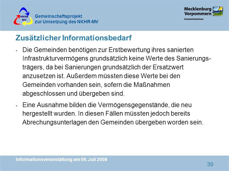 Zusätzlicher Informationsbedarf