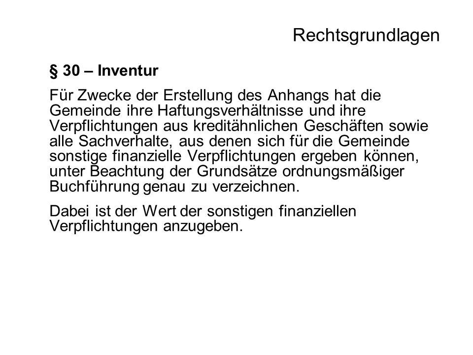 Rechtsgrundlagen § 30 – Inventur