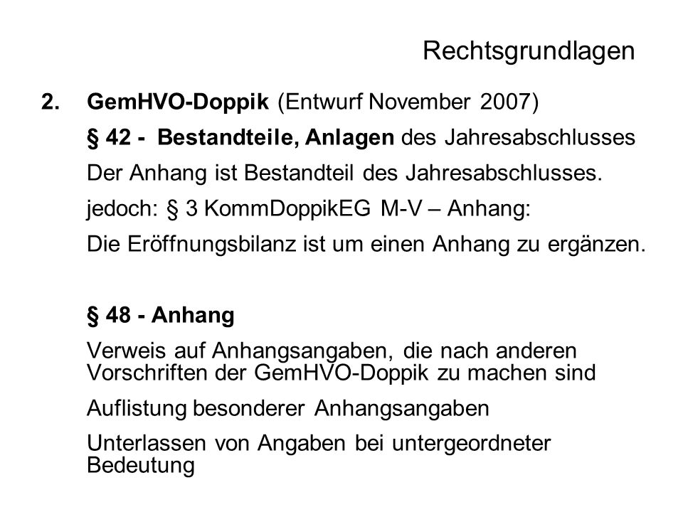 Rechtsgrundlagen GemHVO-Doppik (Entwurf November 2007)