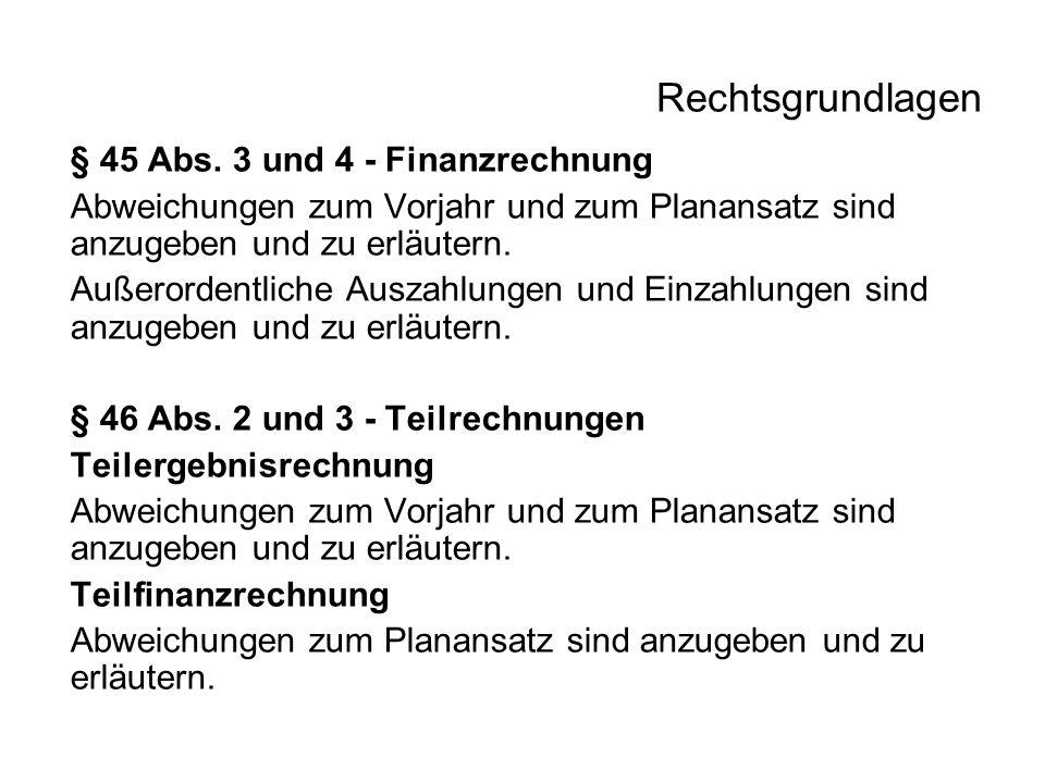 Rechtsgrundlagen § 45 Abs. 3 und 4 - Finanzrechnung