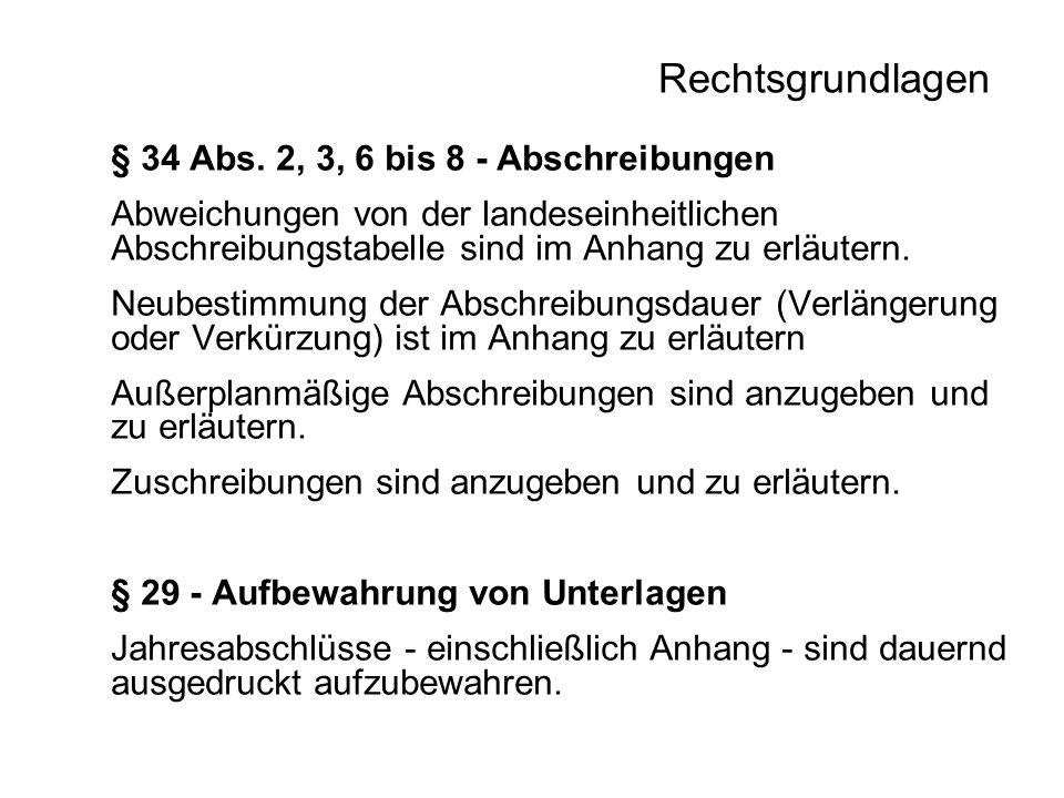 Rechtsgrundlagen § 34 Abs. 2, 3, 6 bis 8 - Abschreibungen
