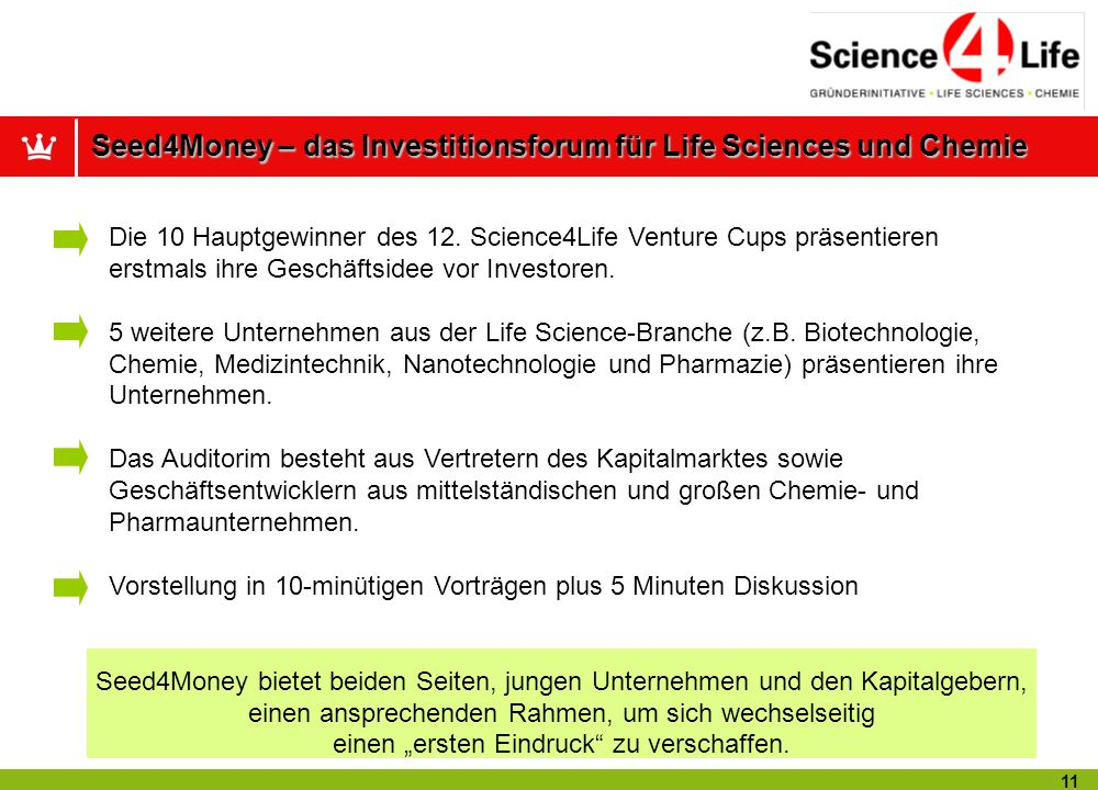 Seed4Money – das Investitionsforum für Life Sciences und Chemie