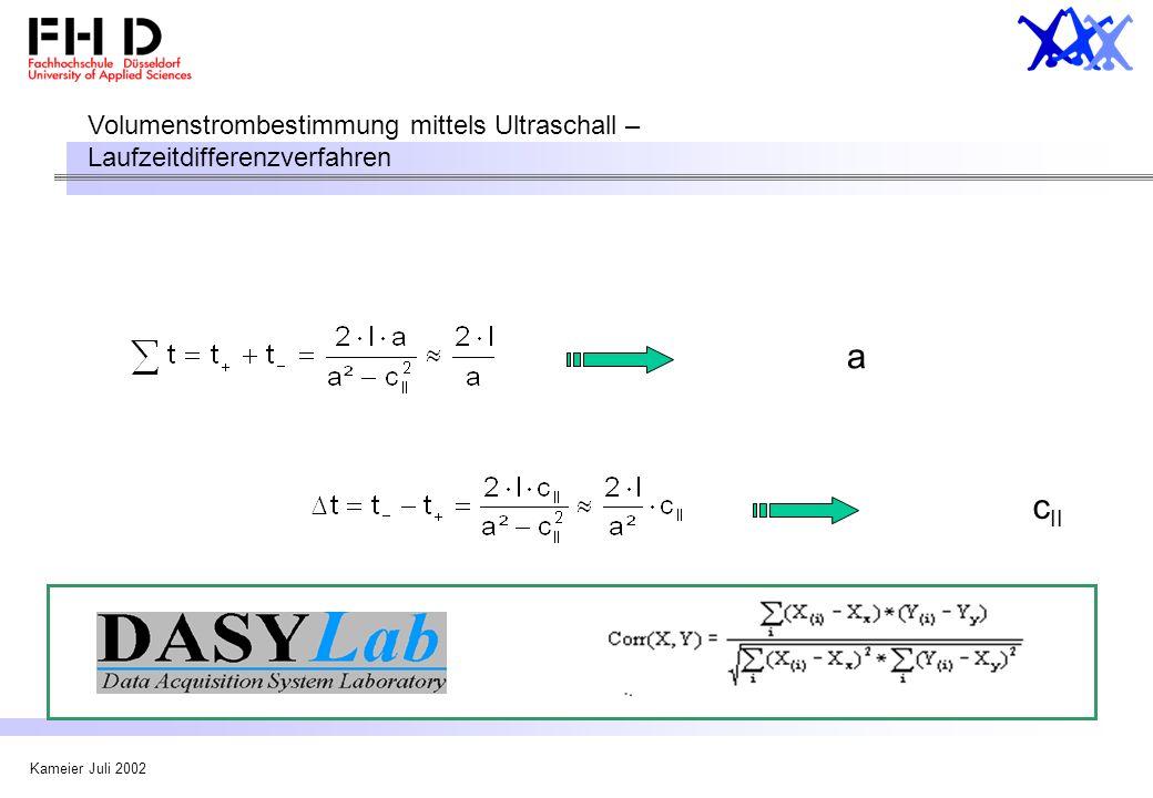 Volumenstrombestimmung mittels Ultraschall – Laufzeitdifferenzverfahren