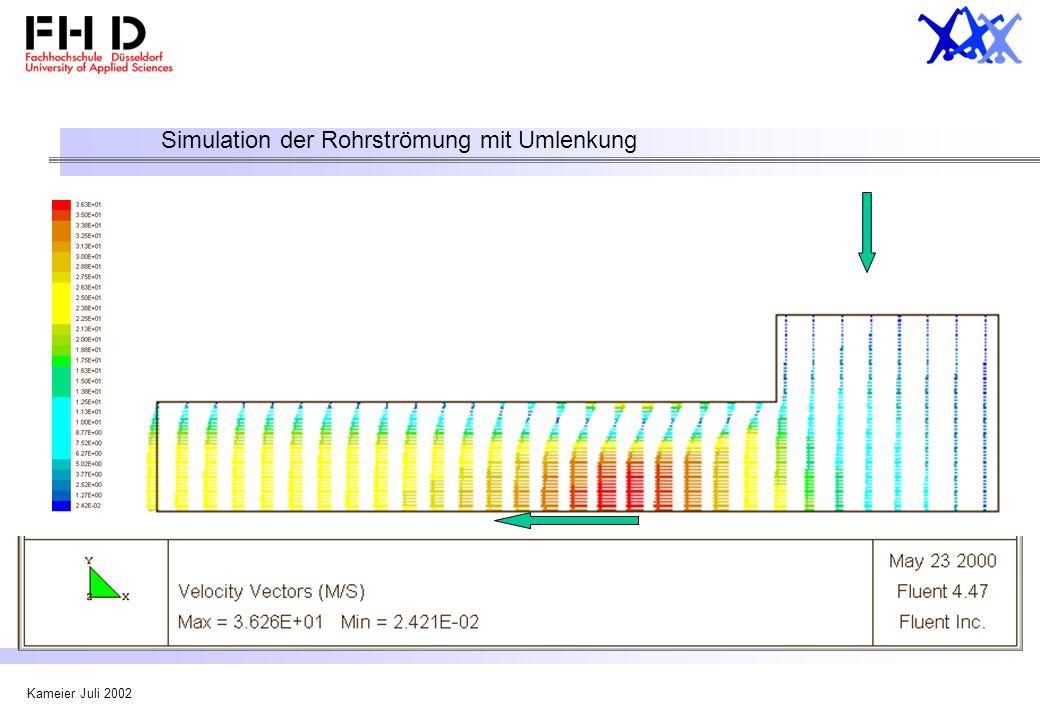 Simulation der Rohrströmung mit Umlenkung
